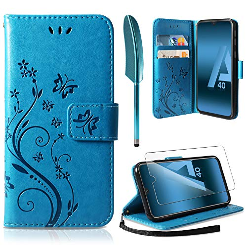 ivencase Cover Samsung Galaxy A40, Retro Design Flip Caso in PU Pelle Premium Portafoglio [Slot per Schede] [Chiusura Magnetica] Custodia per Samsung