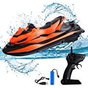 STOTOY RC Boat, Remote Control Racing Boats for Pools and Lakes, 10KM/H 2.4G HZ Electric Mini Watercraft Boat for Kids & Adults, Outdoor Radio Controlled Watercraft Boat