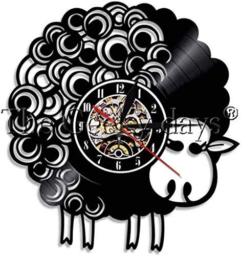 TJIAXU Lindo diseño de Oveja Reloj de Pared con Disco de Vinilo Reloj de Pared de Oveja Feliz Oveja decoración del hogar Reloj de Animal Mudo