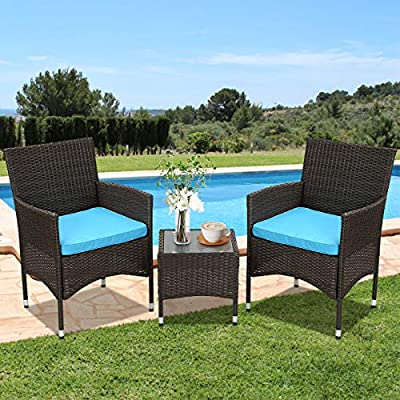 3 Pieces Patio Furniture Set Outdoor Wicker Bistro Set Rattan Chair w/ Thickened Cushions & Table Conversation Sets Patio Sofa Wicker Table Set for Yard Backyard Lawn Porch Poolside Balcony, Blue