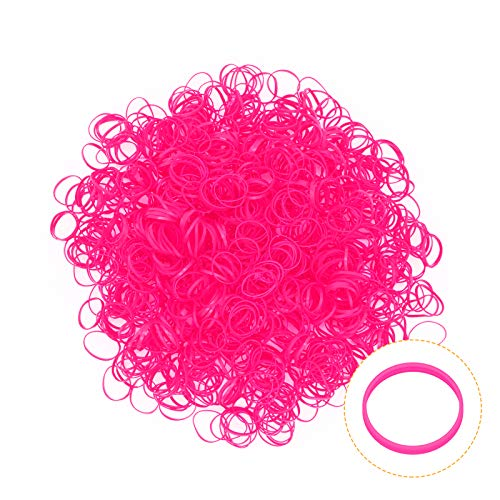KUFUNG Elastic Hair Bands, Non-slip Rubber Hair Ties for Girls, Soft Elastic Bands for Kid Hair Braids Hair (S, Fluorescent Pink)