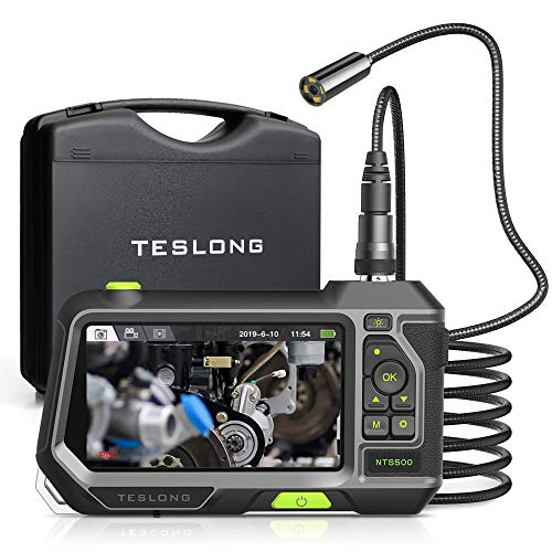 Teslong Autofocus HD Camera Endoscope with 5-inch Screen, Auto Focus Industrial 9.8-Foot-Long Borescope Inspection Camera, 1280x720 HD IPS Display, Waterproof, LED Lights and Storage Box