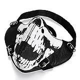 JewelryWe Schmuck Biker Motorrad Maske Sturmmaske Skimaske Gesicht Maske aus Leder - Totenkopf Skull...