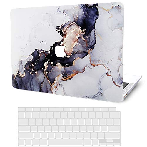 MacBook Pro 13 Inch Case 2020 2019 2018 2017 2016 Release M1 A2338 A2251 A2289 A2159 A1989 A1706 A1708, G JGOO Hard Shell Cover Case + Keyboard Cover Compatible with Mac Pro 13 Touch Bar, Blue Marble