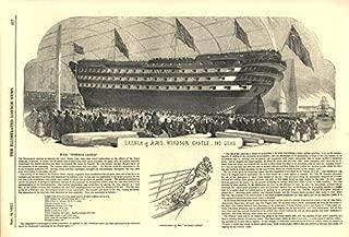 Launch of H. M. S. Windsor Castle, 140 Guns. Royal Navy. Ships - 1852 - Old Antique Vintage Print - Art Picture Prints of Royal Navy