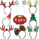 Cerchietto natalizio Renna Costume Nastri per capelli Elfi Cappelli da festa Accessori Regali per le vacanze di Natale (8 PCS)
