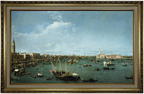 Historic Art Gallery Bacino di San Marco, Venice 1738 by Canaletto Framed Canvas Print, Size 19x32, Gold