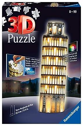 Ravensburger- Puzzle 3D, edición Torre de Pisa, Night Edition, Individual, Color Amarillo (12515)