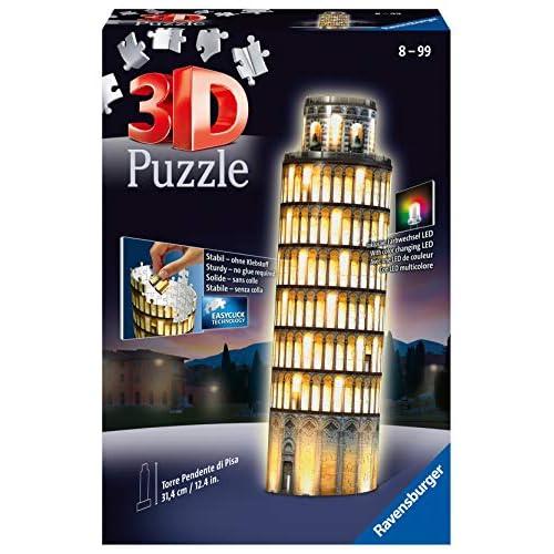 Ravensburger 12515, Puzzle 3D, Torre di Pisa, Edizione Speciale Notte con LED, 216 Pezzi, Età Consigliata 10+, Puzzle Ravensburger - Stampa di Alta Qualità