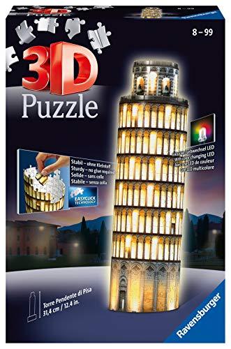 Ravensburger 3D Puzzle Schiefer Turm von Pisa bei Nacht, 3D Puzzle für Kinder und Erwachsene, Wahrzeichen im Miniatur-Format, Leuchtet im Dunkeln