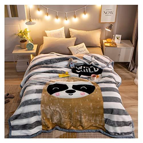 Couverture Corail en Molleton Hiver Épaississement 2 kg Nap Lourd Blanket Simple Chaud Couette Chaude Little (Color : Stripes)