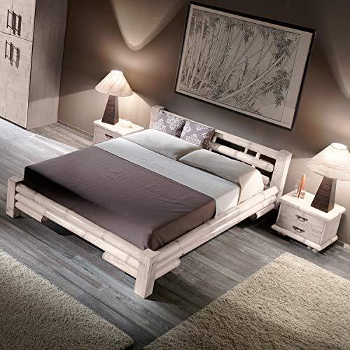 Bambusbett Möbel aus Bambus TABANAN Weiss 140x200 Holzbett Designbett Bettgestell