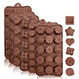 Silicone Chocolate Candy Molds: Silicone Baking Molds for Cake, Brownie Topper, Hard & Soft Candies, Gummy, Jello, Keto Fat Bombs - Hearts, Stars, Flowers, Emojis, Fun Shapes in Brown Trays, 6 Pack