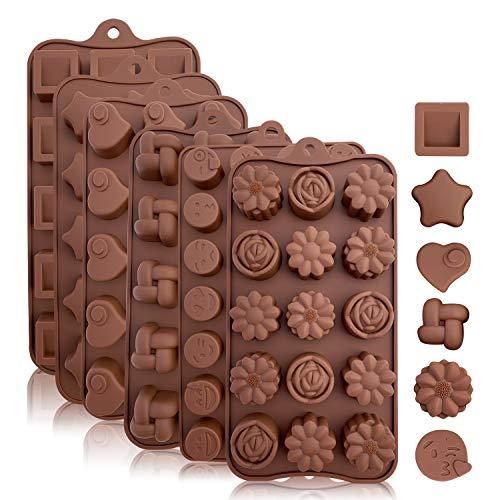 Moldes de Silicona Para Caramelos y Chocolates: Molde Flexible Para Caramelos Duros o Gomosos   Nuevas Formas   Moldes Para Hornear Para Muffins, Dulces y Chocolates - Bandejas Marrón, 6 Pzas