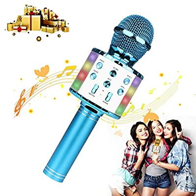 Karaoke Microphone,Guiseapue Wireless Bluetooth Microphone,Dancing LED Lights Portable Speaker Karaoke Machine, Home KTV with Record Function,Compatible with Android iOS Devices (Blue)
