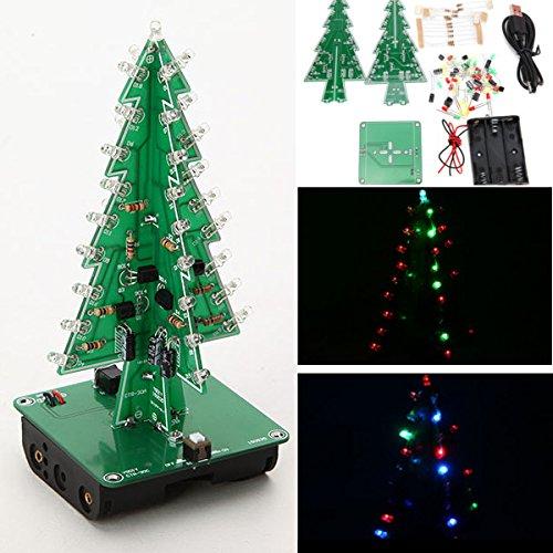 Bluelover Weihnachtsbaum Led-Blitz-Installationssatz 3D Diy Elektronisches Lern-Kit - Bunte Led