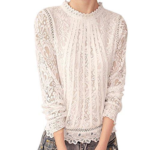 VECDY Damen Bluse,Räumungsverkauf-Frauen Casual Langarm Spitze Patchwork Tops Bluse Langärmelig lässig & charmant Pullover (2XL, Perlweiß)
