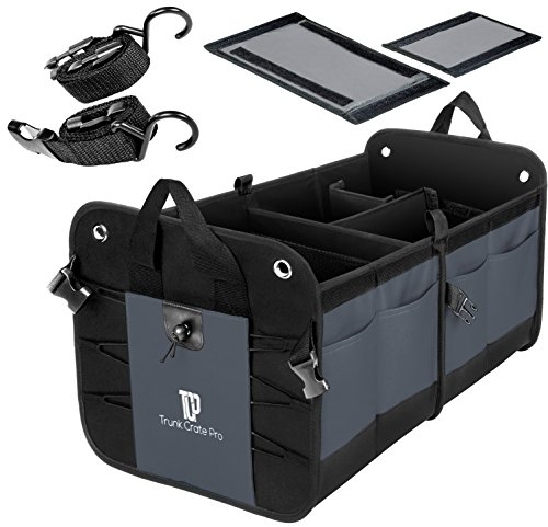 TRUNKCRATEPRO Premium Multi Compartments Collapsible Portable Trunk Organizer for auto, SUV, Truck, Minivan (Black) (Regular, Gray)
