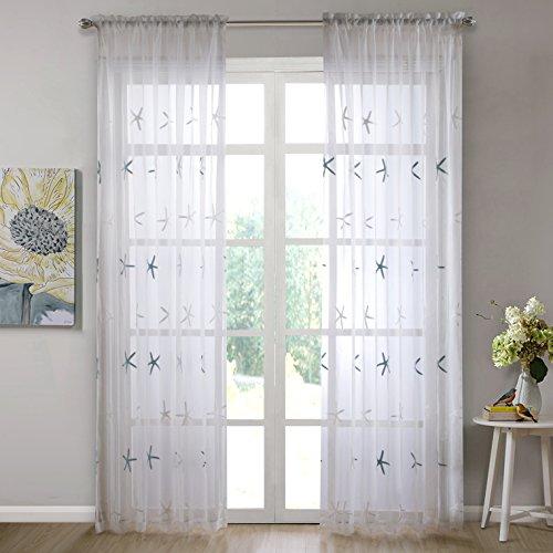 Dreaming Casa Voilage Blanc Salon Rideaux Inspiration Brodé Effet Motif Etoiles de Mer Drapes Voilages Enfant Fille Chambre Set de 2 Panel140 x 183cm
