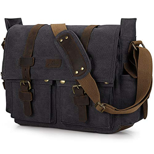 S-ZONE Vintage Canvas Leather Trim DSLR SLR Digital Camera Exchangeable Shoulder Large Messenger Bag Bookbag Removal Cotton Lining Laptop Bag (Black)