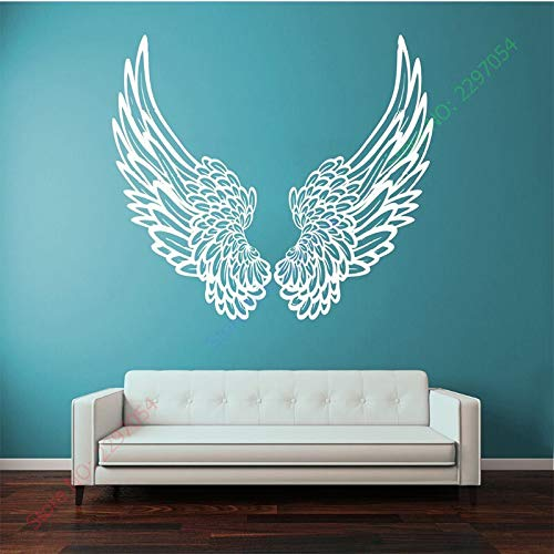 ASFGA Wandaufkleber Vinylaufkleber Wandaufkleber Große Flügel Engel Gott Wächter Vogel Kind Kind Familie Dekoration Dekoration Wandkunst Teen Schlafzimmer Mädchen Schlafzimmer Paar 35x60cm