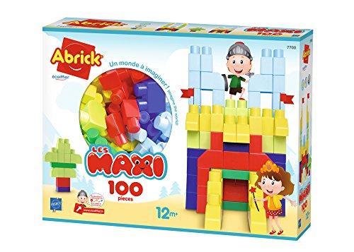 Jouets Ecoiffier -7700 - Coffret de briques à empiler Abrick Maxi – Jeu de construction pour enfants – 100 pièces – Dès 12 mois – Fabriqué en France