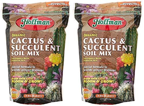 Hoffman 10404 Organic Cactus and Succulent Soil Mix, 4 Quarts (2-Pack)
