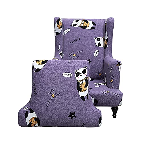 Highdi Funda de Sillón de Orejas Elástica Chesterfield, Europeo Funda de Sofá Relax 2 Piezas con Funda de Cojín, Fundas Protector de Butaca para Dormitorio, Recepción, Club (Panda de Calabaza)