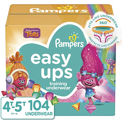 Pampers Easy Ups Pull On Disposable Potty Training Underwear for Girls, Size 4...