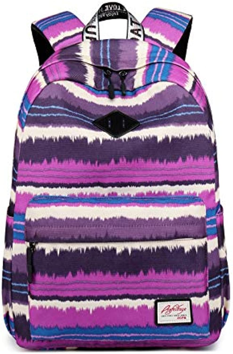 Wangxiangzheng Striped Canvas Backpack Female Student Bag Leisure Travel Backpack Computer Bag (color   Purple)