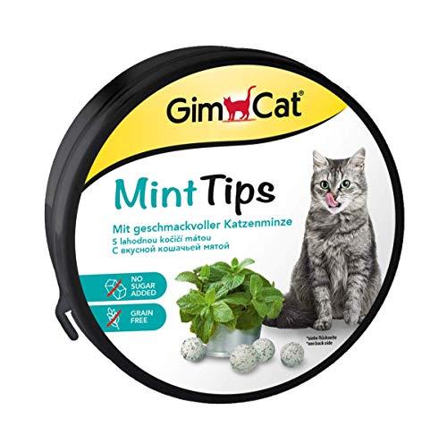 GimCat Mint Tips - Getreidefreier und vitaminreicher Katzensnack mit geschmackvoller Katzenminze