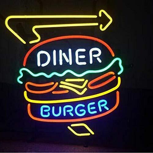 Neon Zeichen Licht,Leuchtreklame Licht,Nachtlicht,Werbeschild, handgemachte echte Glasröhre, Bier Bar Pub Home Room Fenster Garage Wand Dekor Hochzeit Party Dekoration (O-Diner Burger 19