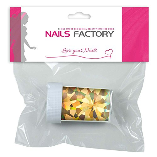 N&BF Nail Art Transferfolie hologram goud | Metallic glitter toverfolie | Nageldesign strip folie voor nagelpunten | Glitter chroomfolie voor gel & acryl modelllagen | Transfer nagelfolie