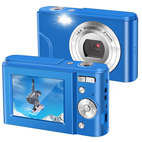 IEBRT Digital Camera,1080P Mini Vlogging Camera Video Camera LCD Screen 16X Digital Zoom 36MP Rechargeable Point and Shoot Camera for Compact Portable Kids Teens Gift (2.4 inch Blue)