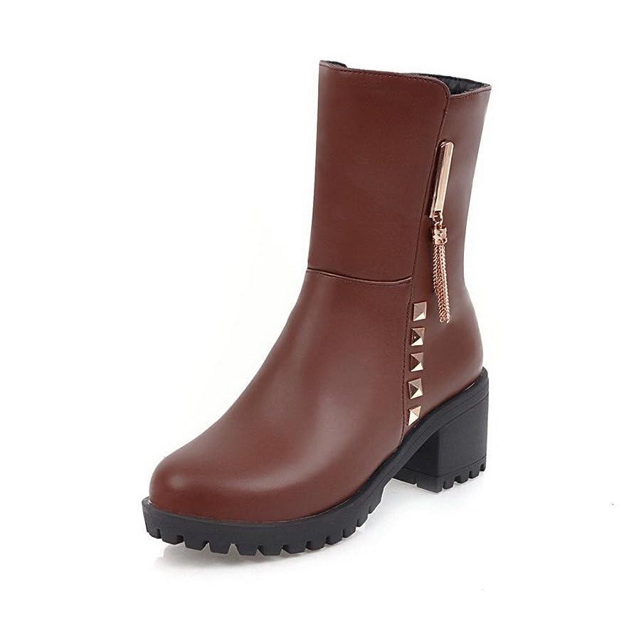 安全性ピカソ特に(オールエイチキューファッション) AllhqFashion レディース ラウンドトゥ ジッパー PUの皮 純色 中ヒール ブーツ 25.5cm ブラウン