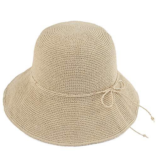 Melesh Women's Bucket Hats Fashion Womens Summer Beach Sun Straw Hat (Rice)
