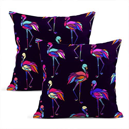 Meowjoy - Juego de 2 fundas de cojín con estampado de flamencos de color rosa neón y colorido, diseño de pájaro, color rosa, para coche, sofá, dormitorio, decoración del hogar, regalos para familiares y amigos, 40,6 x 40,6 cm