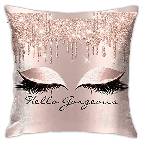 JIADONG Girly Makeup Cover Versteckte Reißverschluss Home Sofa Dekorative Kissenbezug Kissenbezug Quadrat 18x18 Zoll Two Sides Design Bedruckter Kissenbezug