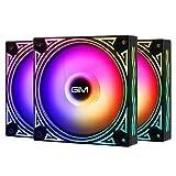 GIM KB-11 - Ventole colorate RGB per PC da 120 mm, con raffreddamento del computer, ritmo musicale 5 V, scheda madre installabile SYNC/RC, velocità di raffreddamento controllabile tramite hub