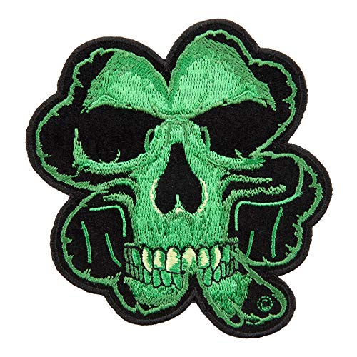 PatchStop Skull Clover Green Iron On Patches for Clothing Jeans - 3.75x4in Small DIY Sew On Patch for Jackets Bags - Embroidered Decorative Shamrock Patches