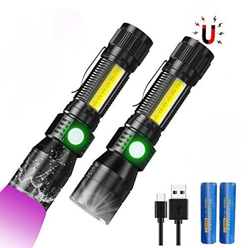 3 In 1 UV Taschenlampe LED (mit 3000mAh 18650 Akku), Taktische Taschenlampe USB Aufladbar, Starke Magnete COB Arbeitsleuchte mit Rotlicht, iToncs 395nm UV Lampe Licht für Banknoten, Urin von Haustiere