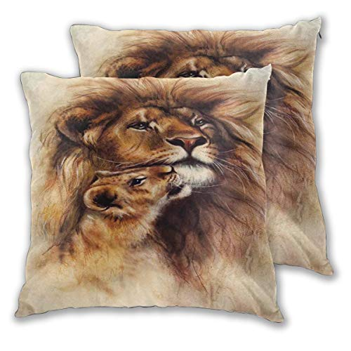 LISNIANY Cushion Cover,Painting of Loving Lion and Her Baby Cub Snuggle Wildlife Nature Expression Safary Theme,Pillow Case Cover Square Cushion Cover for Sofa Car Home Bed Decor 45 x 45cm