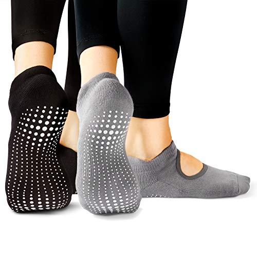 LA Active Grip Socks - 2 Pairs - Yoga Pilates Barre Ballet Non Slip Covered (Slate Grey and Stellar Black, Large)
