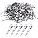 BronaGrand 100pcs 4.5cm Silver Single Prong Curl Clips Silver Section Clips Metal Alligator Hair Pins Clips Clothing for Hair Extensions