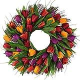 OVBBESS Corona de tulipán para puerta de puerta, corona de verano para corona de puerta frontal