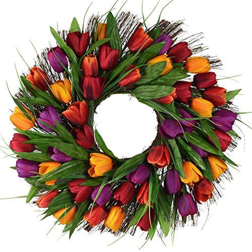 Naliovker Guirnalda de Tulipanes Guirnalda de Puerta Flor Artificial TulipáN Ramita Floral Guirnalda de Puerta Guirnalda de Verano para Guirnalda de Puerta Delantera