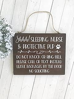 Nurse Gift, Gift for Nurse, Do Not Disturb, Door Sign, Nurse Sleeping, Protective Dog, Night Shift Nurse, Sleeping Nurse, Nurse Decor 7