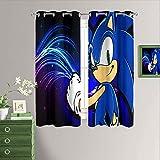 Sonic Games - Cortina de oscurecimiento de habitación Sonic y colas para dormitorio/sala de estar,...