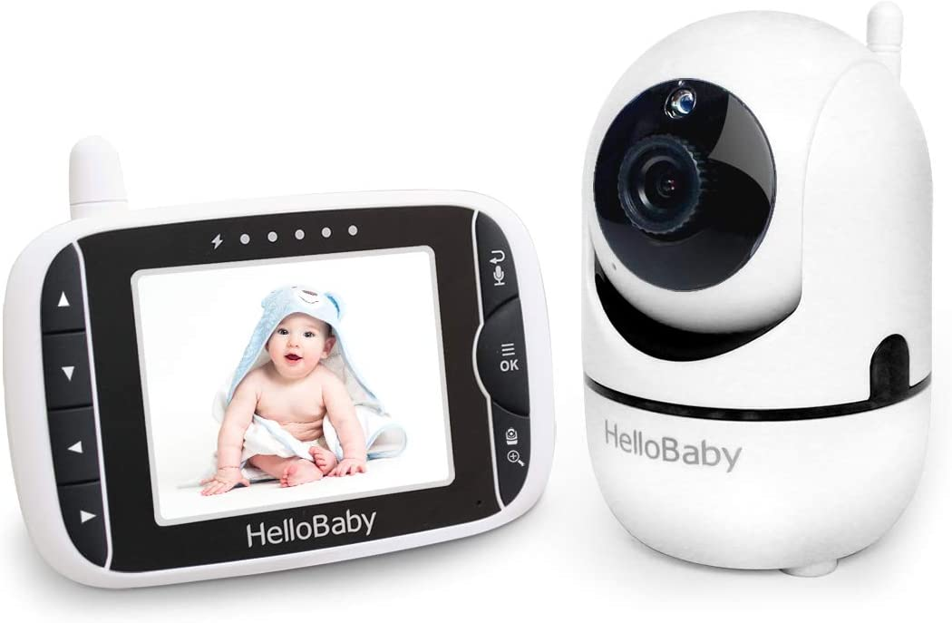 HelloBaby Video Baby Monitor with Remote Camera Pan-Tilt-Zoom, 3.2'' Color LCD Screen, Infrared Night Vision, Temperature Display, Lullaby, Two Way Audio