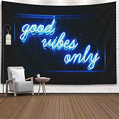 Decorative Wall Tapestry,Musesh Good Vibes Only Words in Neon Light for Bedroom Living Room Outdoor 80X60 Inch